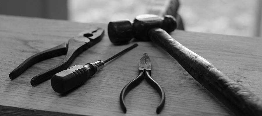 Tools sit on a table.