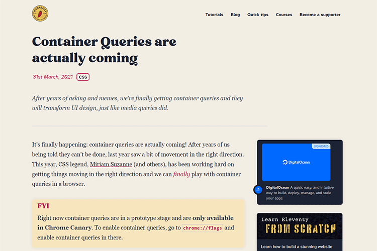 Example from Container Queries are actually coming