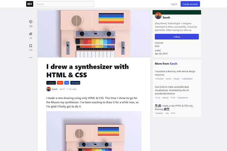 Example from I drew a synthesizer with HTML & CSS