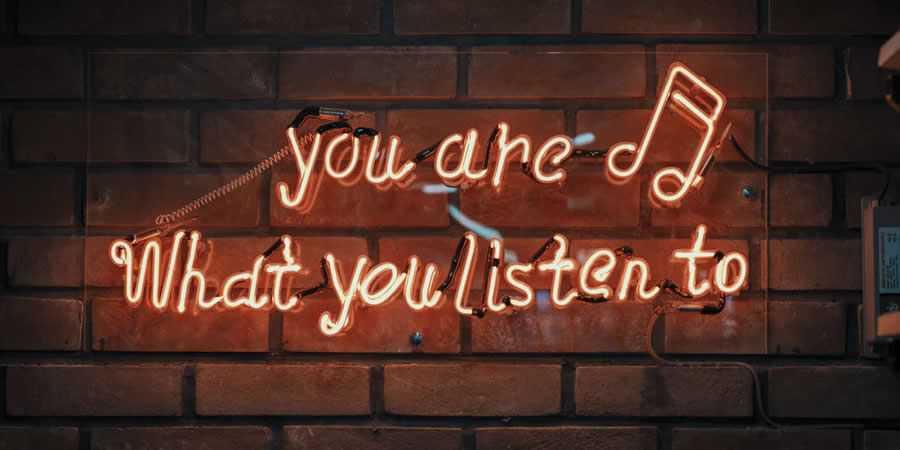 music listen sign neon glow flow