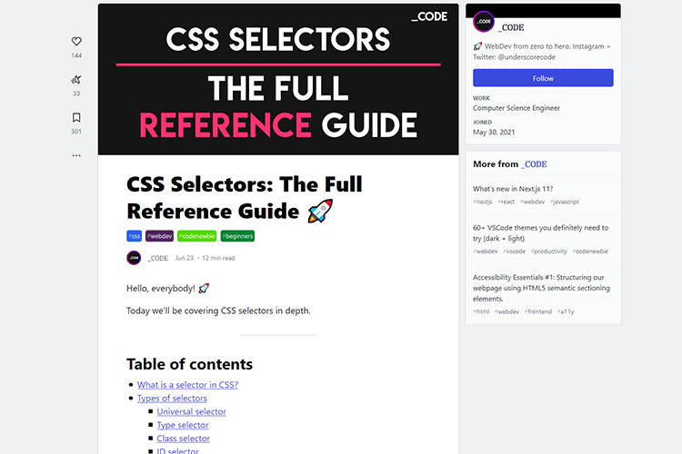 Example from CSS Selectors: The Full Reference Guide