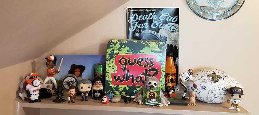 The author's fully-decorated bookshelf.