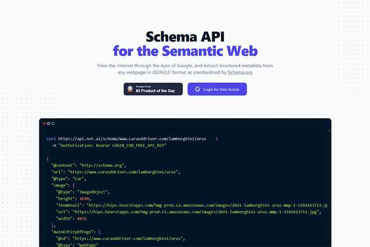 Example from Schema API for the Semantic Web