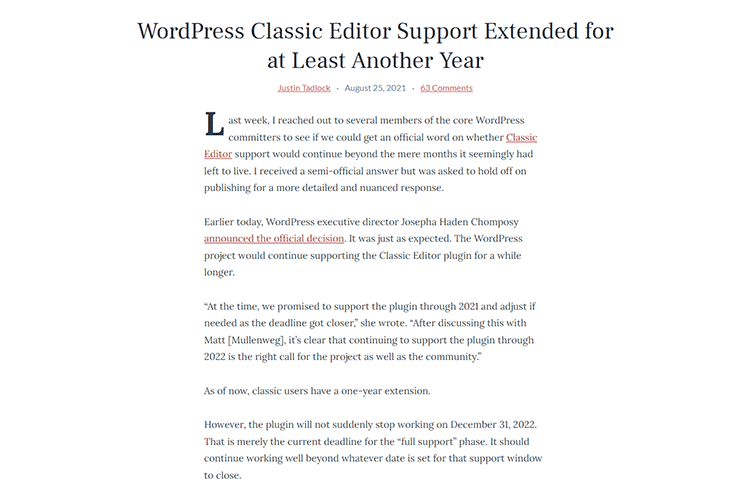 Example from WordPress Classic Editor Support Extended for at Least Another Year