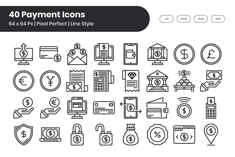 Pixel-Perfect Line Payment Icons