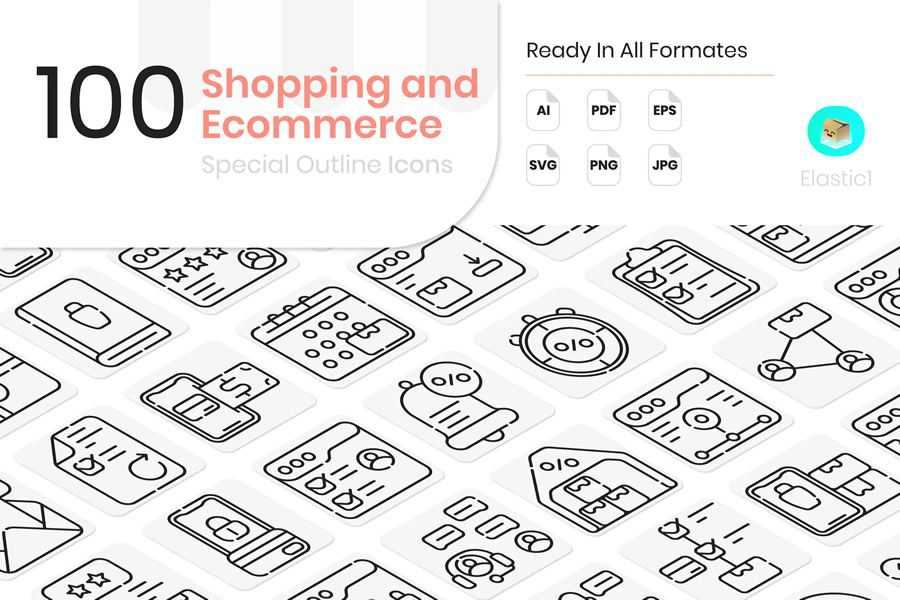 Shopping Ecommerce Outline Icons
