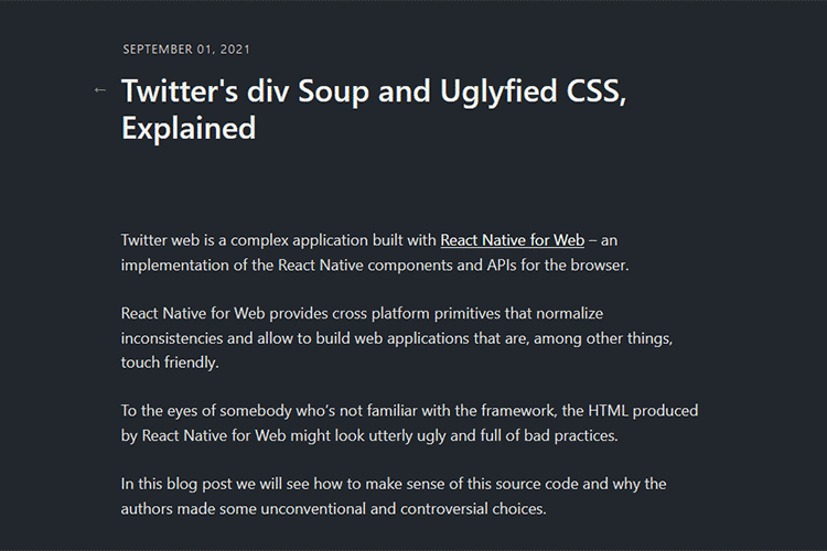 Example from Twitter's div Soup and Uglyfied CSS, Explained