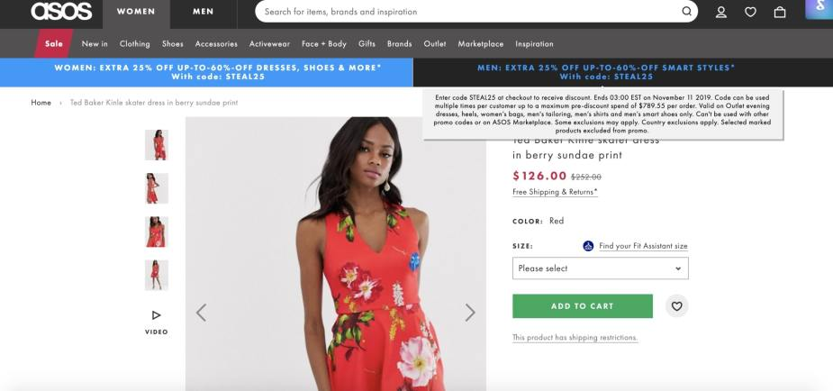 Shows a Ted Baker Dress listed on ASOS