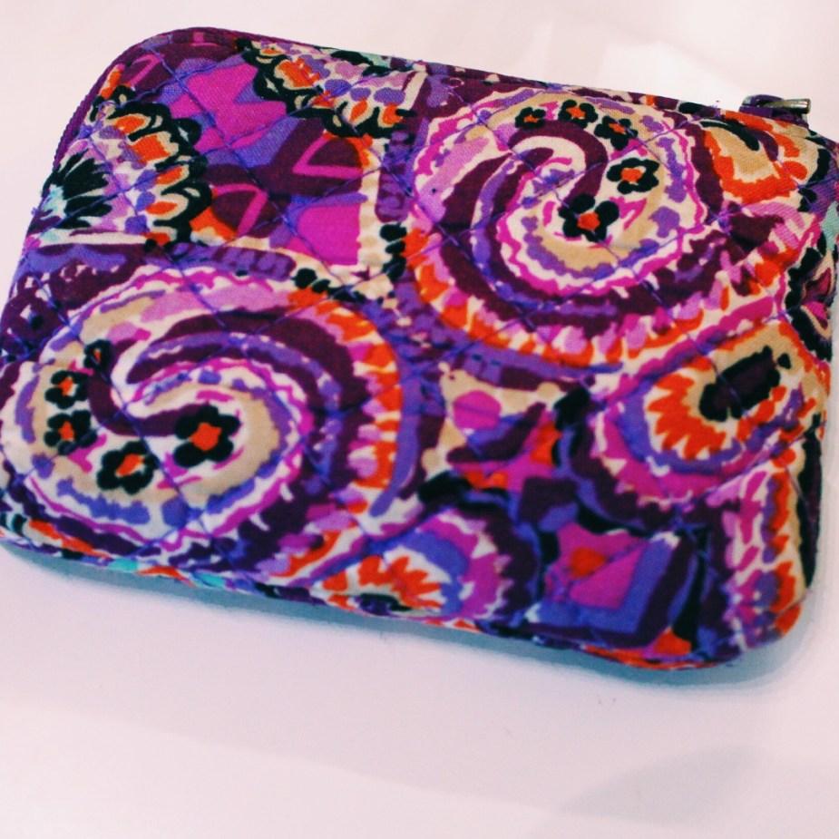 vera bradley iconic coin purse in dream tapestry purple and orange colors