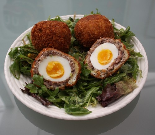 Image result for Egg Scothch with chicken minced with sauce and salad