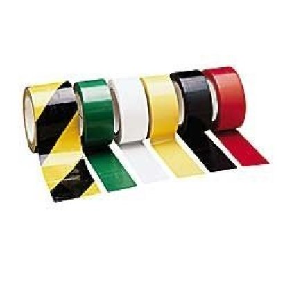 Colored vinyl tape – striped – used for isle marking, color coding, striping, etc.