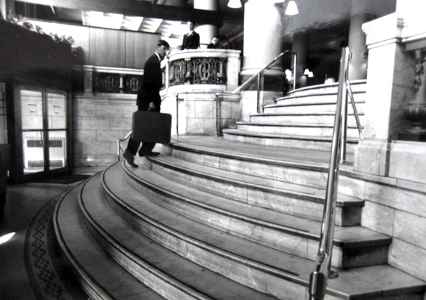 The hotel's vestibule, as it appeared in the days prior to its closure in 1967