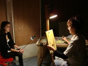 Chrissy working on third portrait