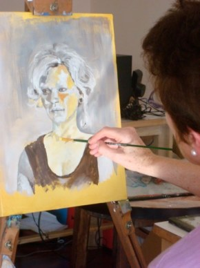 Joan working on underpainting