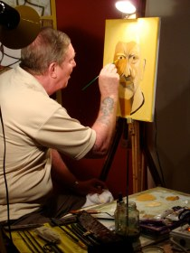 Tony paints a self portrait
