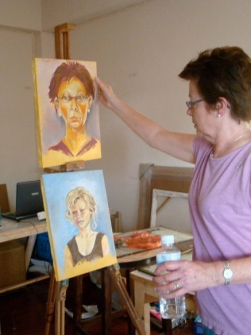 Joan shows her work from the Portrait Workshop