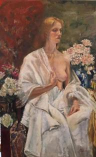 """""""Yesim with Flowers"""", oil on linen, 63"""" x 39"""""""