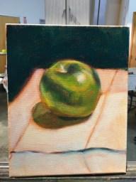 "Green Apple Study, Acrylic on canvas, 8"" x 10"""