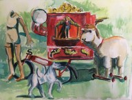 "Flea Market in Brugge, watercolor, 5"" x 7"""