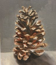 """Pinecone, Oil on canvas panel, 5"""" x 7"""""""