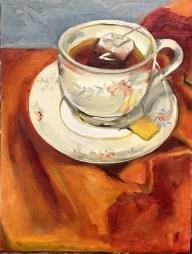 "Tea Time, Oil on Canvas Panel, 8"" x 10"""