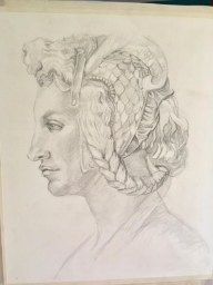 After Michelangelo, Graphite on Canson