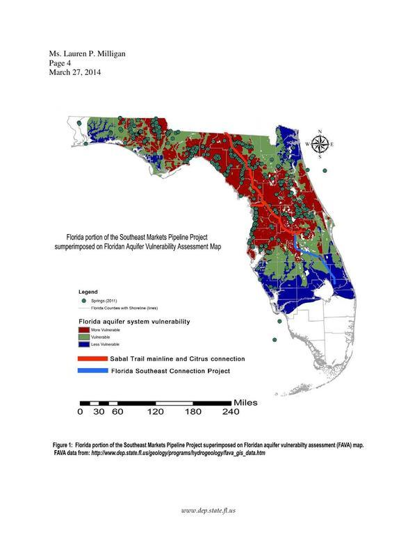 600x776 Southeast Markets Pipeline Project superimposed on Floridan Aquifer Vulnerability Assessment Map, in Sabal Trail pipeline considered harmful for karst limestone Floridan Aquifer --FL-DEP, by John S. Quarterman, for SpectraBusters.org, 18 March 2014