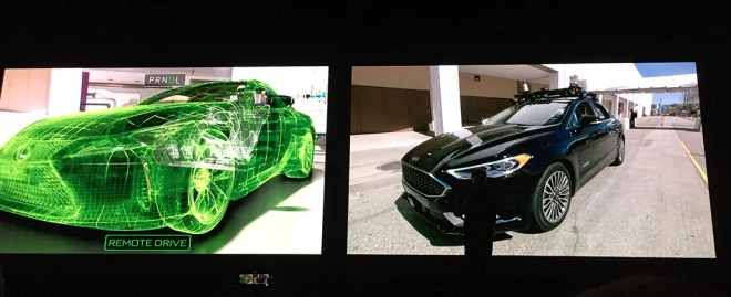 Image of a VR car next to a real car is shown at the GTC 2018 conference