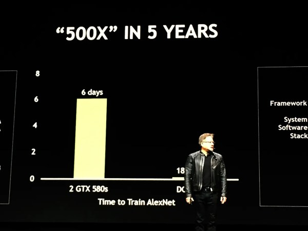Nvidia CEO Jensen Huang on stage at the GTC 2018 conference