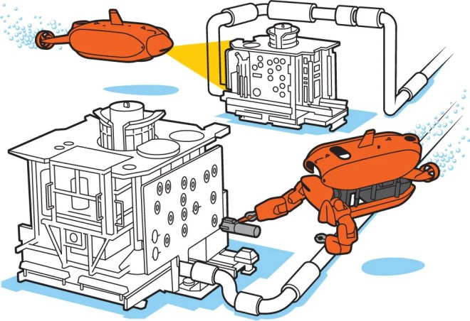 Illustration showing how Aquanaut works in both forms.