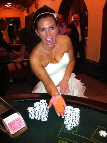 bride at a roulette table