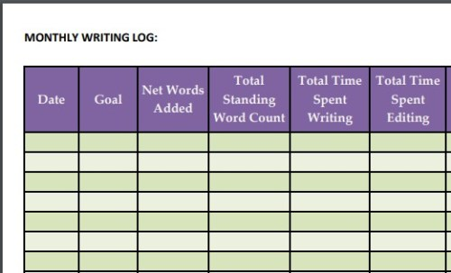 writing log template left