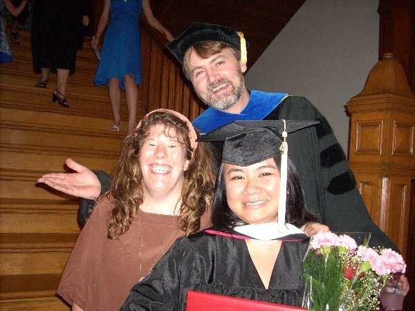 With my two mentors (Anne Harris and Mike Arnzen) at my SHU graduation ceremony.