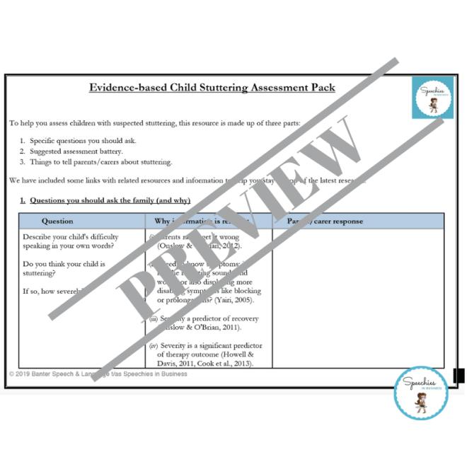 Child Stuttering Assessment Pack