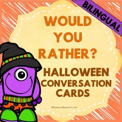 "Bilingual ""Would You Rather?"" Task Card Freebie"