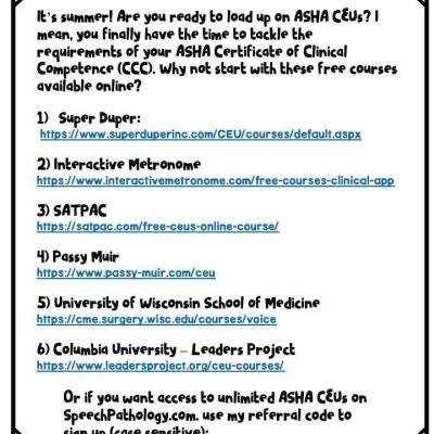 Intense Type A SLP: Summer CEU Opportunities
