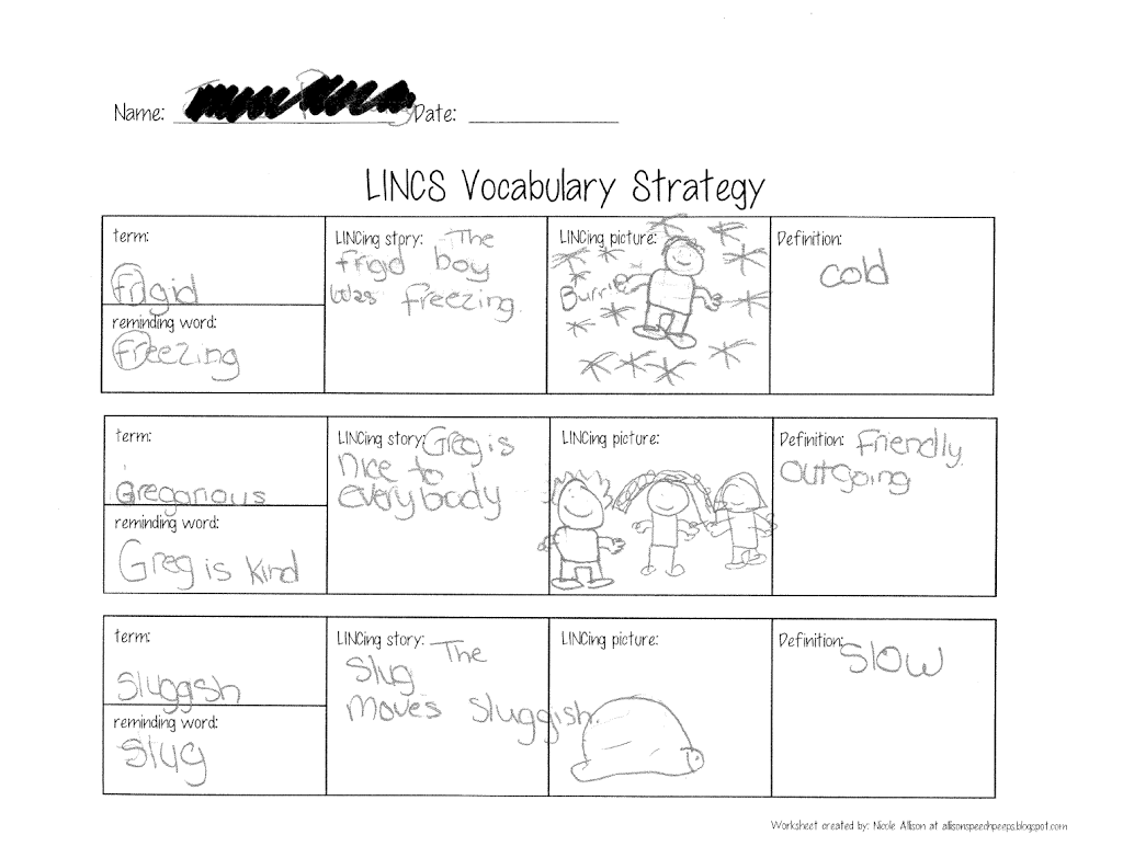 Love It And List It Linky Vocabulary Activities