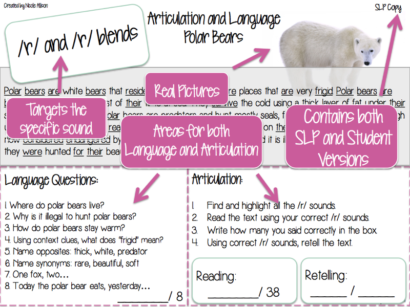 Nonfiction Texts Targeting Articulation AND Language