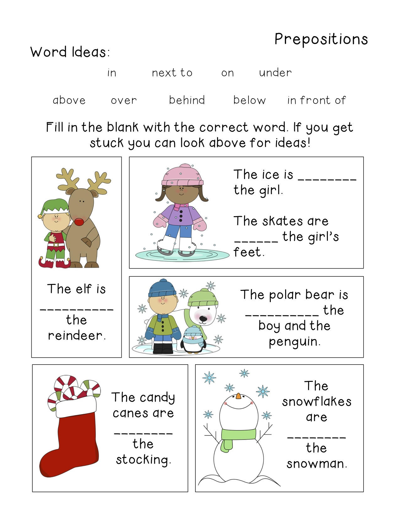 Winter Themed Grammar Worksheets