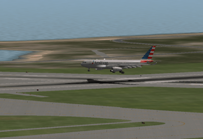Over the numbers for Runway 4R.