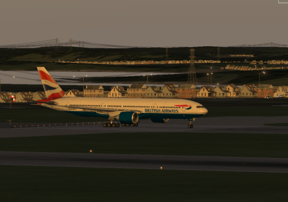 The 777 in all her beauty waiting on Runway 19L.