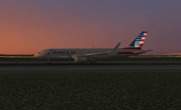 The 757 on the ground after landing.