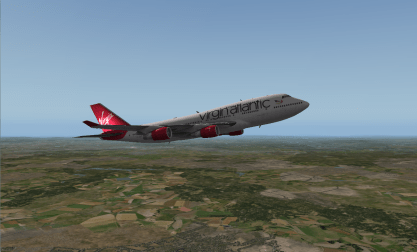 Climbing out of England.