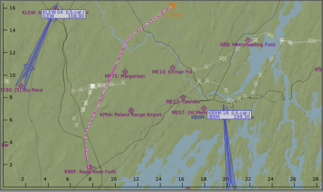 The departure pattern flown – parallel to Route 9, then a right turn.