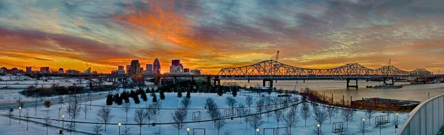 Snow Cover in Waterfront Park HDR Panorama