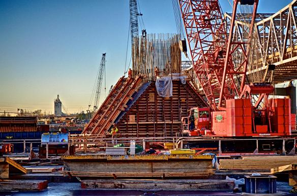 HDR Photo of Carpenters Removing the concrete form from the eastern base of the North Tower #2