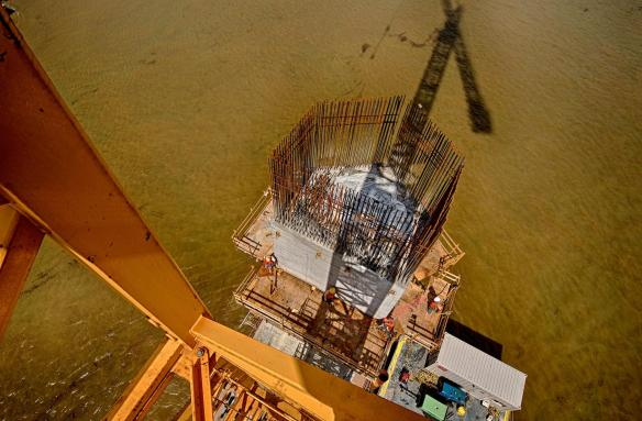 A view of the eastern tower structure of the Bridge Tower at Pier 4 on the Ohio River Bridges Project Downtown Span.