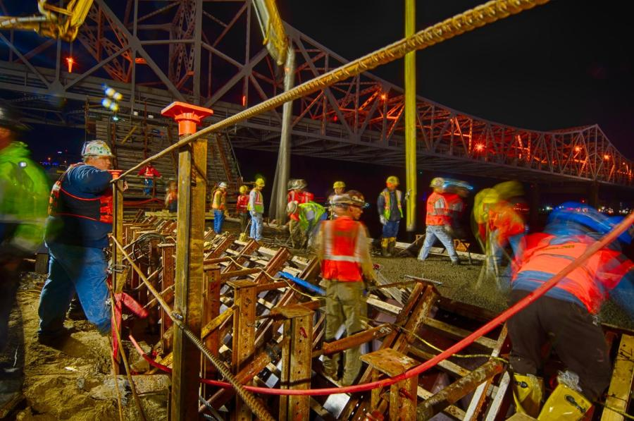 Walsh construction crew pours the plinth and eastern tower base for Tower 3 of the Downtown Span on the Ohio River Bridges Project.