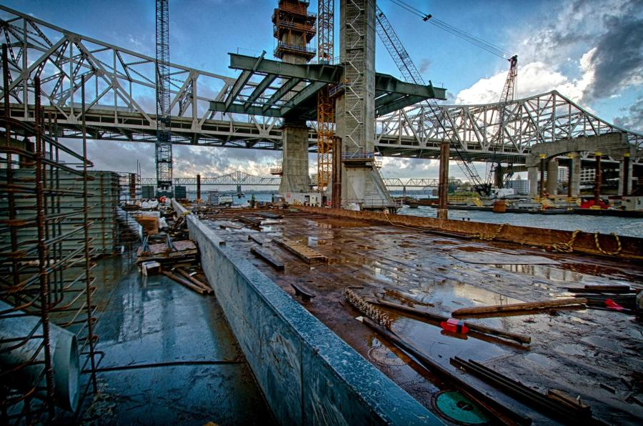 Early morning shot of Pier 5 after a short period of rain. This view give a good overview of the progress being made on the bridge deck and towers.