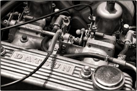 Datsun Engine Detail in B&W.